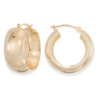 14K Yellow Gold Petite Bold Band Hoop Earrings