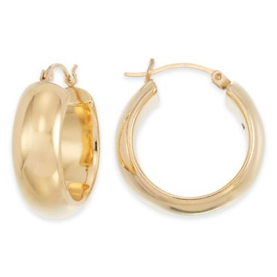 14K Yellow Gold Large Band Hoop Earrings