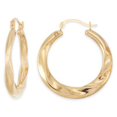 14K Yellow Gold Wide Swirl Hoop Earrings