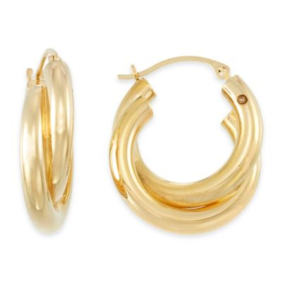 14K Yellow Gold Petite Double Twist Hoop Earrings