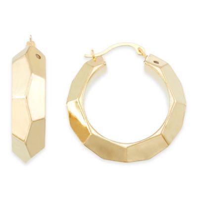 14K Yellow Gold Faceted Hoop Earrings