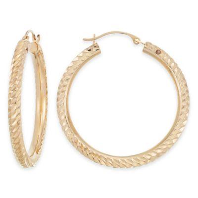 14K Yellow Gold Diagonal Diamond Cut Hoop Earrings