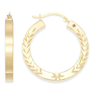 14K Yellow Gold Diamond Cut Round Hoop Earrings