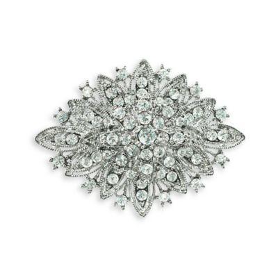 Serendipity Vintage Silvertone Elegant Rhinestone Wedding Brooch