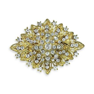 Vintage Goldtone Elegant Rhinestone Wedding Brooch