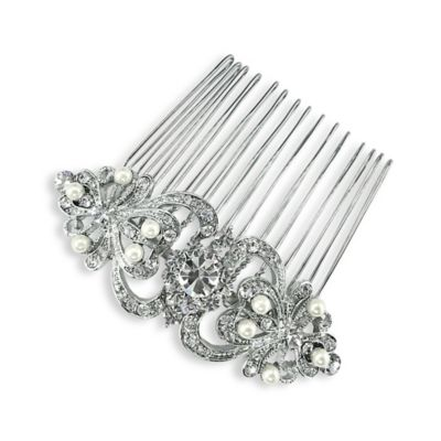 Simulated Pearls and Rhinestone Scroll Hair Comb