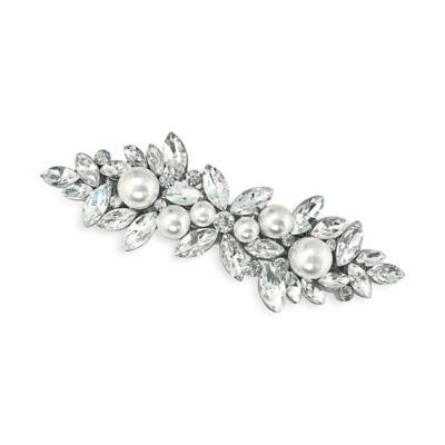 Serendipity Rhinestone and Simulated Pearl Cluster Wedding Barrette Clip