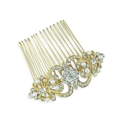 Goldtone Simulated Pearl Rhinestones Scroll Hair Comb