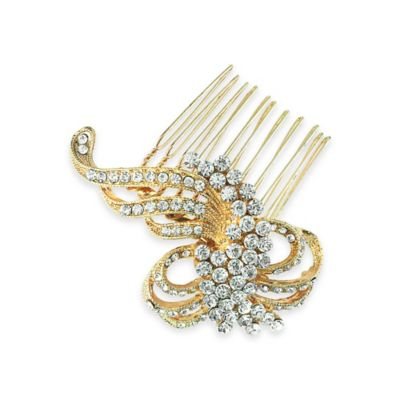Serendipity Rose Gold-Plated Art Deco Rhinestone Scroll Hair Comb