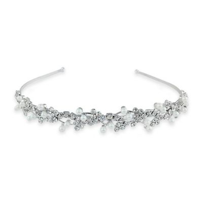 Simulated Pearl and Rhinestone Floral Headband