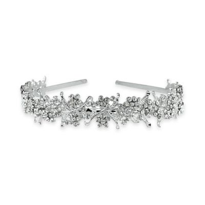 Serendipity Rhinestone Ribbons Floral Cluster Silvertone Headband