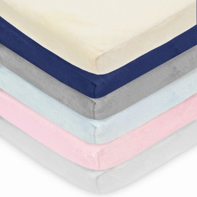 TL Care® Heavenly Soft Chenille Pack 'n Play Playard Fitted Sheet in Blue