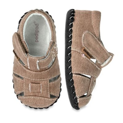 pediped® Originals Size 6-12M Harvey Gingersnap Sandal in Canvas