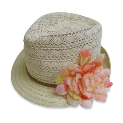 Rising Star™ Newborn Floral-Accented Crochet Fedora in Ivory