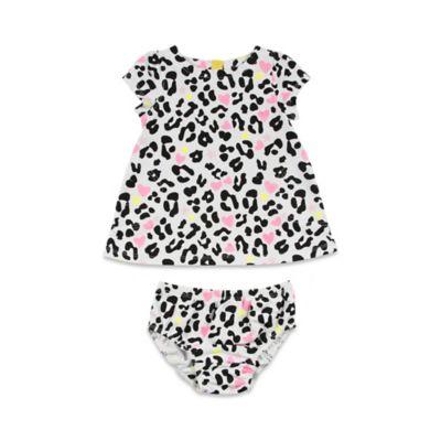 AMY COE Size 0-3M 2-Piece Leopard Hearts Dress Set in Snow White/Jet Black/Brights