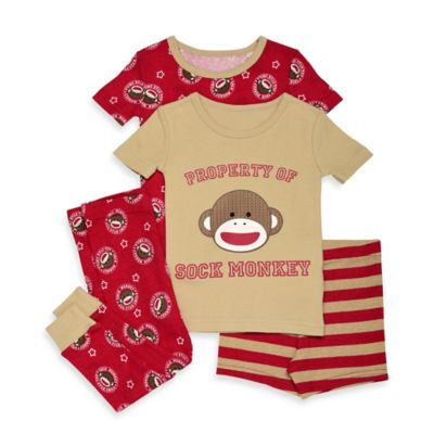 Baby Starters® Sock Monkey Size 24M 4-Piece Short-Sleeve Pajama Set in Brown