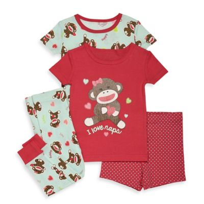 Baby Starters® Sock Monkey Size 12M 4-Piece Short-Sleeve Pajama Set in Coral