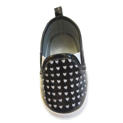 Rising Star™ Size 3-6M Heart Cut-Out Sneaker in Black Patent