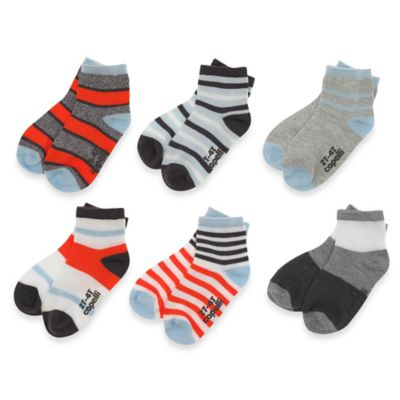 Capelli New York Size 12-24M 6-Pack Striped Gripper Crew Socks