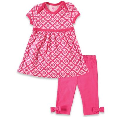 BabyVision® Hudson Baby® Size 0-3M 2-Piece Short Sleeve Dress and Legging Set in Pink