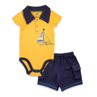 BabyVision® Hudson Baby® Size 0-3M 2-Piece Sailboat Bodysuit and Cargo Short Set in Yellow