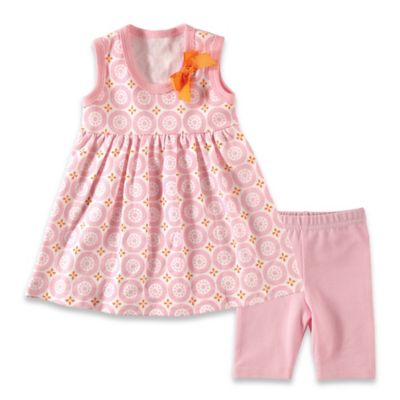 BabyVision® Hudson Baby® Size 0-3M 2-Piece Mosaic Dress and Legging Set in Pink
