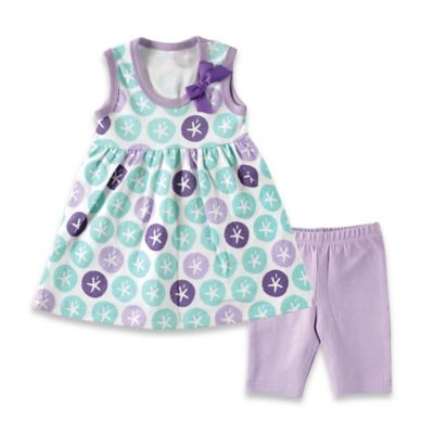 BabyVision® Hudson Baby® Size 0-3M 2-Piece Sand Dollar Dress and Legging Set in Purple