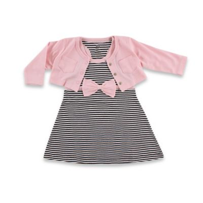 BabyVision® Hudson Baby® Size 0-3M 2-Piece Racerback Dress with Cardigan Set in Black/Pink