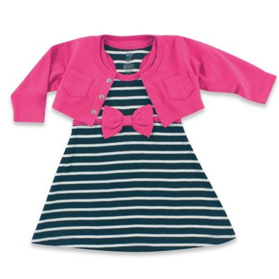 BabyVision® Hudson Baby® Size 0-3M 2-Piece Racerback Dress with Cardigan Set in Navy/Berry
