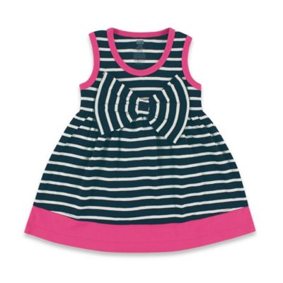 BabyVision® Hudson Baby® Size 0-3M Sleeveless Big Bow Striped Dress in Navy/Pink