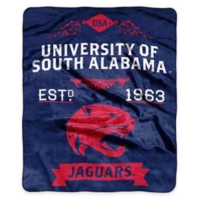 NCAA University of South Alabama Super Plush Raschel Throw Blanket