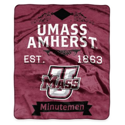 NCAA University of Massachusetts Super Plush Raschel Throw Blanket