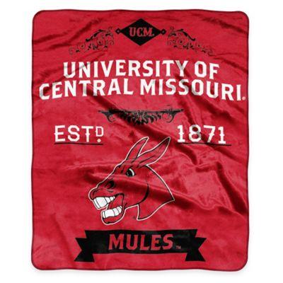 NCAA University Central Missouri State Super Plush Raschel Throw Blanket