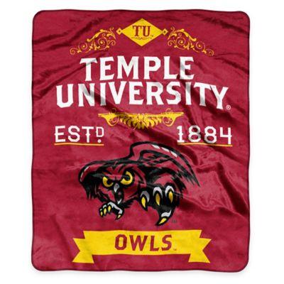 NCAA Temple University Super Plush Raschel Throw Blanket