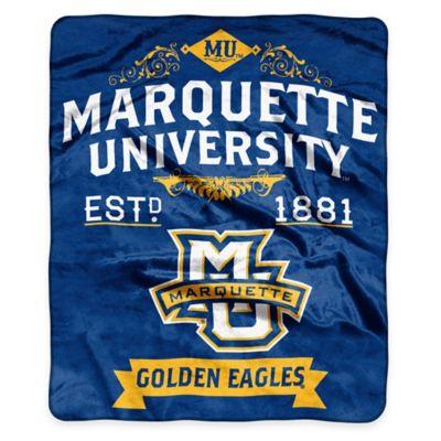 NCAA Marquette University Super Plush Raschel Throw Blanket