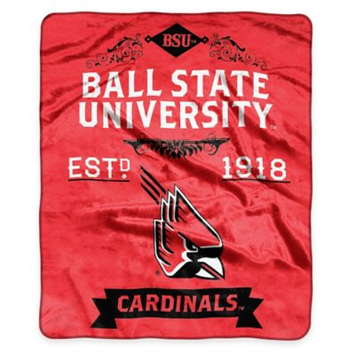 NCAA Ball State University Super Plush Raschel Throw Blanket