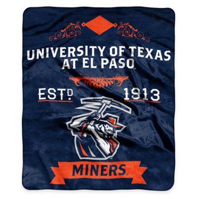 NCAA University of Texas at El Paso Super Plush Raschel Throw Blanket