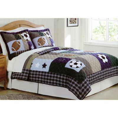 Sports Collage Full/Queen Quilt Set