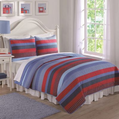 Blue and Red Sebas Stripe Twin Quilt Set