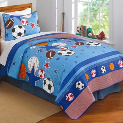 Sports and Stars Twin Quilt Set