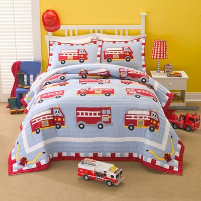 Cotton Fire Truck Full/Queen Quilt Set