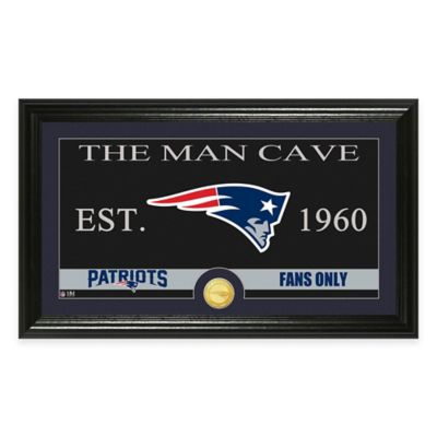 """NFL New England Patriots """"Man Cave"""" Bronze Coin Panoramic Photo Mint"""