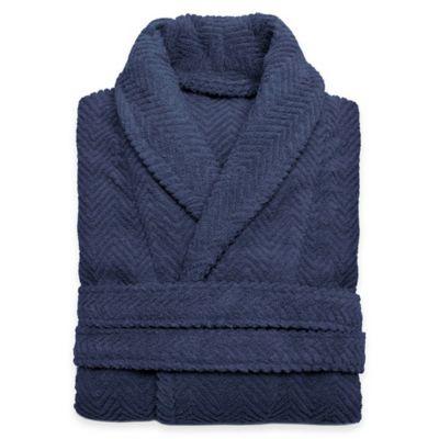 Linum Home Textiles Small/Medium Herringbone Unisex Turkish Cotton Bathrobe in Midnight Blue