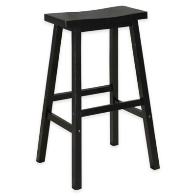 American Heritage Wood Saddle Counter Stool in Black