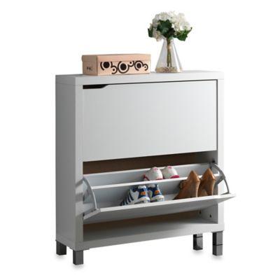 Baxton Studio Simms 2-Tier Shoe Cabinet in Dark Brown