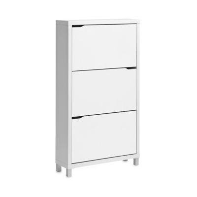Simms 3-Tier Shoe Cabinet in White