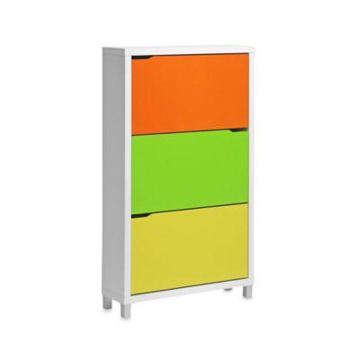Simms 3-Tier Shoe Cabinet in Green/Orange