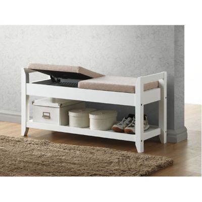 Baxton Studio Maudie Wooden Shoe Storage Bench in White