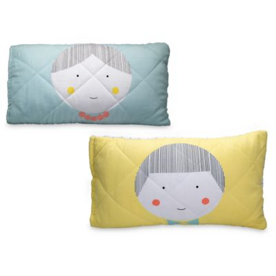 Greenbuds Jack & Jill Organic Cotton Quilted Toddler Pillow Cover with Wool Fill in Jill/Blue