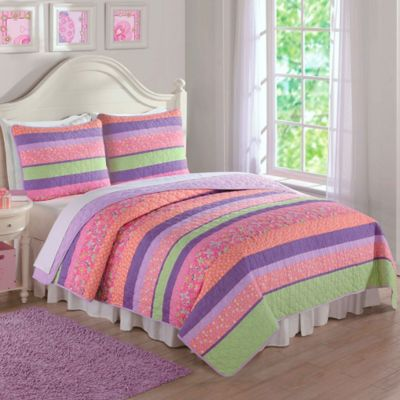 Anna's Pastel Stripe Twin Quilt Set